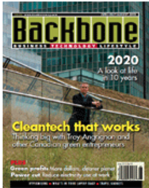 I'm in the June/July/August issue of Backbone Magazine talking about cleantech in Canada
